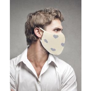 PASSION Reuseable Two Layer Cotton Face Mask, Grey Hearts on Yellow Background, One Size